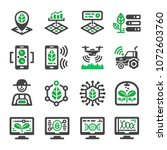 smart farm icon set | Shutterstock .eps vector #1072603760