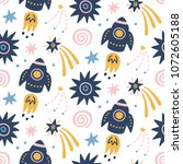 space galaxy childish seamless... | Shutterstock .eps vector #1072605188