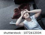 mental disorder. top view of... | Shutterstock . vector #1072612034