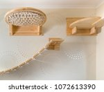 Stock photo play set for cats a wooden ladder a shelf a hammock in the interior of the house 1072613390