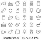 thin line icon set   coffee... | Shutterstock .eps vector #1072615193