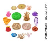 coral reef icons set. isometric ... | Shutterstock .eps vector #1072618544