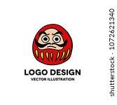 daruma doodle icon. japanese... | Shutterstock .eps vector #1072621340