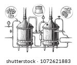 vintage distillation apparatus... | Shutterstock .eps vector #1072621883