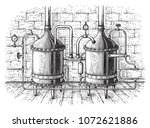 vintage distillation apparatus... | Shutterstock .eps vector #1072621886