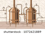 vintage distillation apparatus... | Shutterstock .eps vector #1072621889