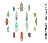 boat top view above over icons... | Shutterstock .eps vector #1072621976