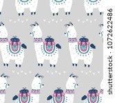 cartoon llama alpaca seamless... | Shutterstock .eps vector #1072622486