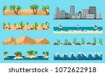 a set of pixel seamless element ... | Shutterstock .eps vector #1072622918