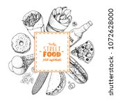 fast food sketch collection....   Shutterstock .eps vector #1072628000