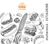 fast food hand drawn sketch... | Shutterstock .eps vector #1072628288