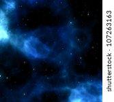 Blue Nebula Background With...