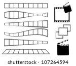 film strip and movie clapper set | Shutterstock .eps vector #107264594