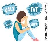 young sad teenager girl sitting ...   Shutterstock .eps vector #1072646798