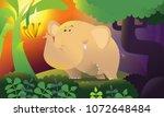 cute elephant in forest. vector ...   Shutterstock .eps vector #1072648484