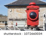 railway lamp on a level... | Shutterstock . vector #1072660034