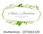wedding invitation with green... | Shutterstock .eps vector #1072661120