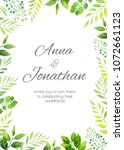 wedding invitation with green... | Shutterstock .eps vector #1072661123