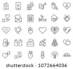 thin line icon set   mother day ... | Shutterstock .eps vector #1072664036