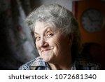 smile elderly woman face | Shutterstock . vector #1072681340