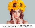 beautiful young woman beauty... | Shutterstock . vector #1072682396