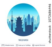 wuhan famous china city scape.... | Shutterstock .eps vector #1072686446