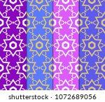 set of decorative super floral... | Shutterstock .eps vector #1072689056