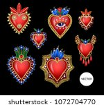 traditional mexican hearts with ... | Shutterstock .eps vector #1072704770