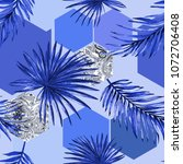 seamless geo palm leaves blue... | Shutterstock . vector #1072706408