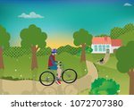 teenage boy ride a bicycle to... | Shutterstock .eps vector #1072707380