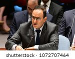 Small photo of NEW YORK CITY - APRIL 14 2018: The UN Security Council held an emergency to debate & vote a Russian resolution condemning US & Allied aggression against Syria. Kuwaiti representative Ayyad Al-Otaibi