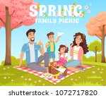 family picnic in the park.... | Shutterstock .eps vector #1072717820