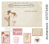 wedding postcard and postage... | Shutterstock .eps vector #107272430