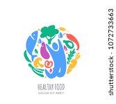 organic healthy vegetarian food ... | Shutterstock .eps vector #1072733663