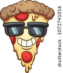 cool cartoon pizza wearing... | Shutterstock .eps vector #1072741016