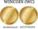 set of physical golden coin... | Shutterstock .eps vector #1072754294