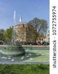 Small photo of SOFIA, BULGARIA - APRIL 13, 2018: Garden Central Bath and Banski Square in Sofia, Bulgaria