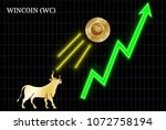 gold bull  throwing up wincoin  ... | Shutterstock .eps vector #1072758194