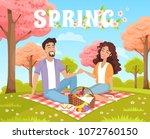 picnic spring park. romantic... | Shutterstock .eps vector #1072760150