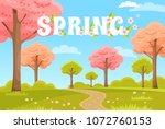 park background. spring park.... | Shutterstock .eps vector #1072760153