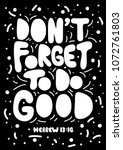 do not forget to do good.... | Shutterstock .eps vector #1072761803