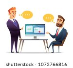 two businessmen discuss the... | Shutterstock .eps vector #1072766816