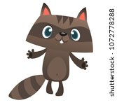 happy excited cartoon raccoon...   Shutterstock .eps vector #1072778288