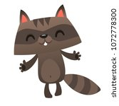 happy cartoon raccoon jumping.... | Shutterstock .eps vector #1072778300