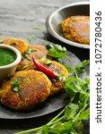 aloo tikki   indian snack... | Shutterstock . vector #1072780436