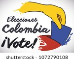 poster with colombian flag... | Shutterstock .eps vector #1072790108