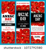 poppy flower banner for anzac... | Shutterstock .eps vector #1072792580