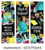 welcome back to school banners... | Shutterstock .eps vector #1072792643