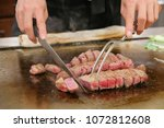 the kobe beef is the famous... | Shutterstock . vector #1072812608
