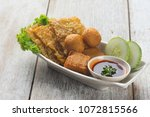 various fried items fucuk  ... | Shutterstock . vector #1072815566